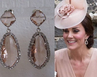 Kate Middleton Duchess of Cambridge Inspired Replikate Silver Chandelier Pear Drop Peach Morganite Halo Crystal Earrings