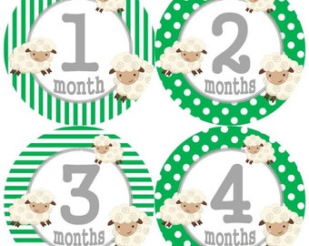 Baby Monthly Milestone Growth Stickers Green Lamb Nursery Theme MS963 Baby Boy Girl Shower Gift Baby Photo Prop