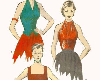 "Vintage 1950's 1951 Sewing Pattern Blouse Peter Pan Collar Halter Slit Front B 32"""