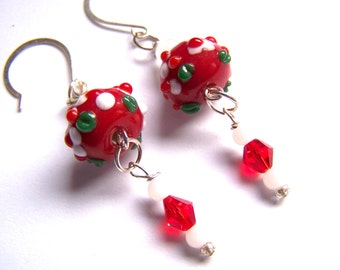Red White Lampwork Glass Dangle Earrings Doodaba
