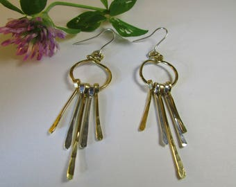 Golden hoops with gold and silver dangles