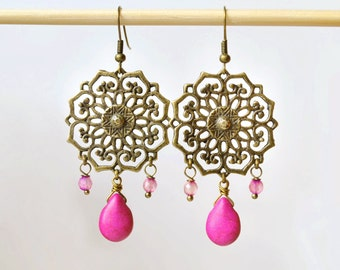 Gift for girlfriend Fuchsia Earrings pink drop earrings pink earrings Mandala Earrings chandelier earrings Boho Earrings Bohemian Earrings