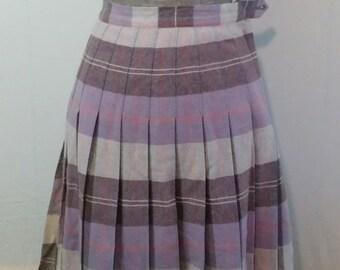 Plum plaid skirt- 1970's