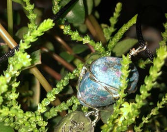 Blue Aventurine wire wrapped stone necklace