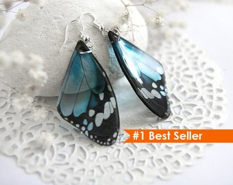 Baby blue earrings Something blue Butterfly earrings statement jewelry Silver Bohemian earrings for women Mother day gift Animal lover