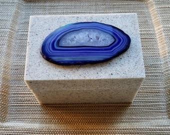 Purple Agate-Rectangle Jewelry Trinket Decor Sandstone Box