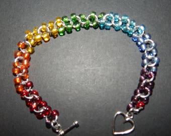 Rainbow Glass Bead Chainmail Bracelet