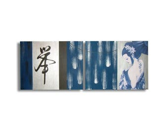 Blue geisha Asian Chinese diptych painting