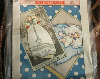 1937 Home Arts Needlecraft Magazine Antique Periodical Sewing and Household Publication Vintage Patterns and Adverts