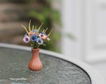 Cornflower Bouquet Miniature Home Decor, Bunch of Collectable Crochet Field Flowers, Dollhouse Miniature Fiber Art, Fake Summer Cornflowers