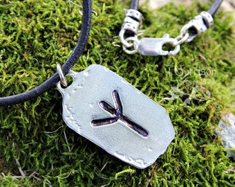 Protection Rune Necklace - Algiz Elder Futhark pewter charm, leather cord - letter Z - dog tag shape, for men & women - free USA shipping