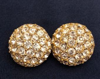 Fabulous Pair of Rhinestone Crystal and Goldtone Clip-On Button Earrings