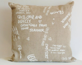 Pillow linen beige with writings, in  linen cover