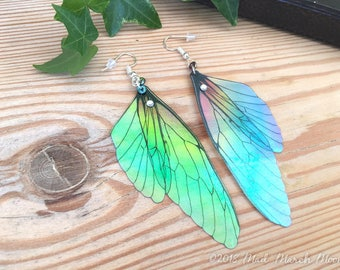 Rainbow Fairy Wing earrings, transparent iridescent cicada style with sterling silver ear wires, latch back and clip on version available.