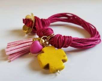 Yellow cross bracelet