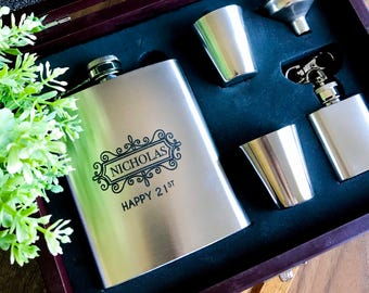 Personalised Birthday Gift Engraved Stainless Steel Hip Flask Set in Wooden Gift Box