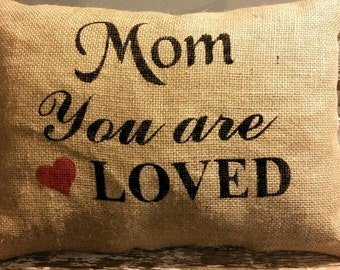 """Mom You Are Loved With A Red Heart Rectangle Burlap Stuffed Pillow 16"""" x 12"""" Mother's Day or Birthday Gift"""