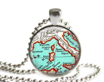 Mediterranean Story Jewelry necklace charm, Ports of Call, Barcelona, Marseille, Rome, Naples, Corsica, Sicily, A192