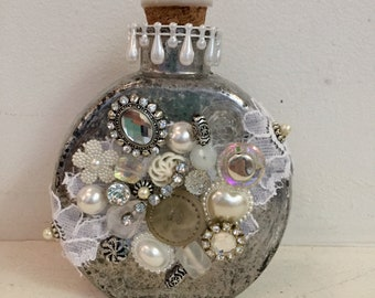 Mixed Media Mosaic Medium Round Bottle 2 with Lace - Altered Bottle Series