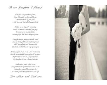 Poem for the Bride on her wedding day keepsake