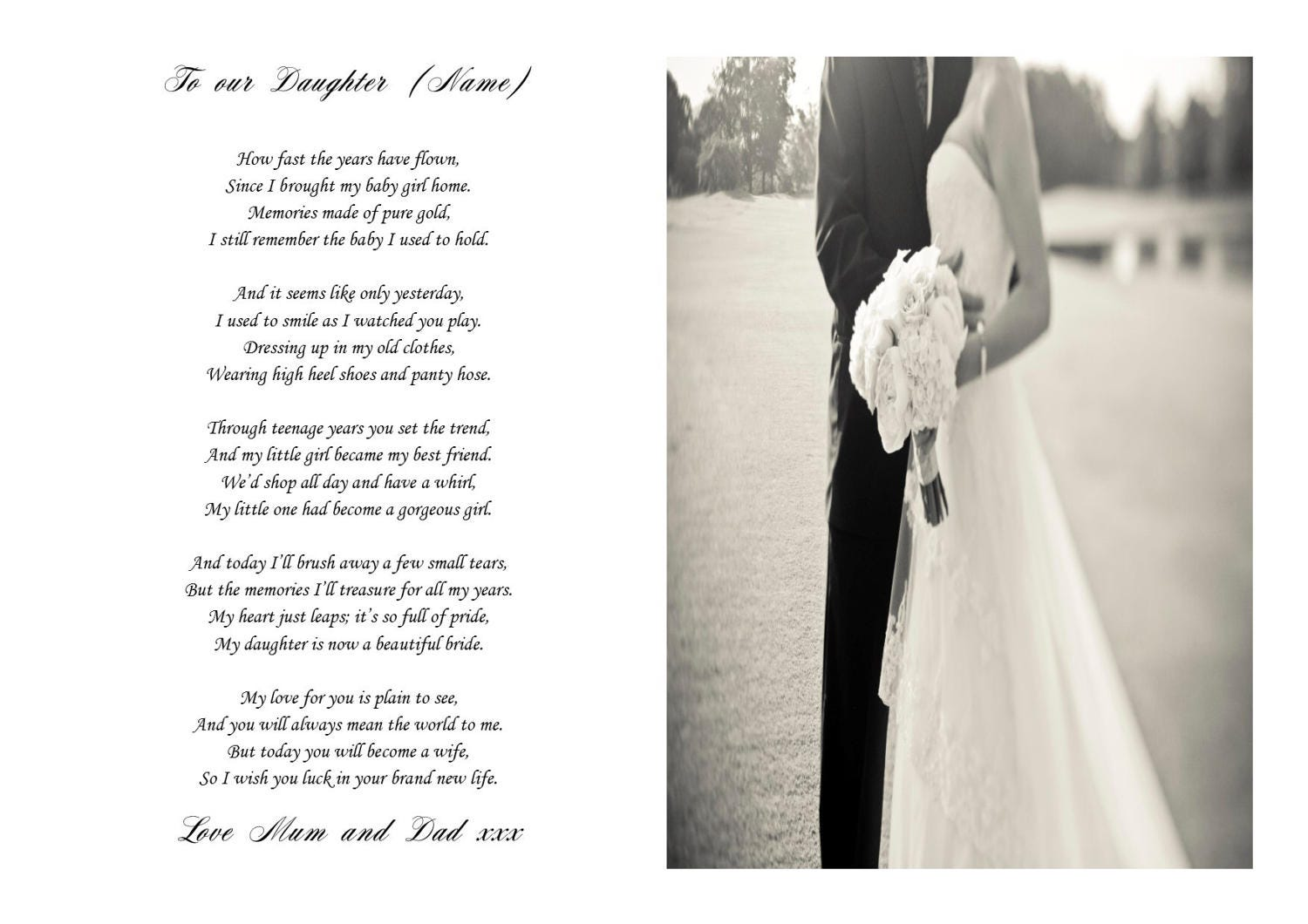 Gift For Friend On Her Wedding: Poem For The Bride On Her Wedding Day Keepsake