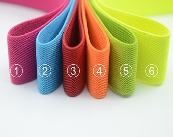 "1.5"" 38mm Wide Colored Double-side Twill Elastic Band, Wide Waistband Elastic, Elastic Trim, Elastic Ribbon, Sewing Elastic-1 Yard"