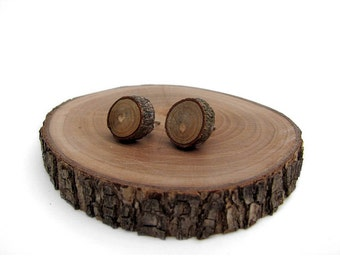 Rustic Magnolia Twig Wooden Stud Earrings by Tanja Sova