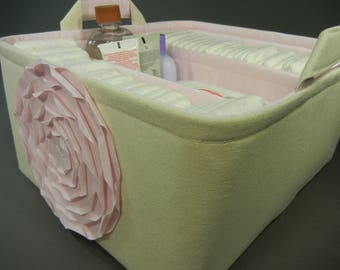 "EEx Large Long Diaper Caddy-12""W x14""D x 7""H(CHOOSE COLORS)Two Dividers-Baby Gift-Fabric Storage Organizer -""Pastel Pink Rose on Natural"""