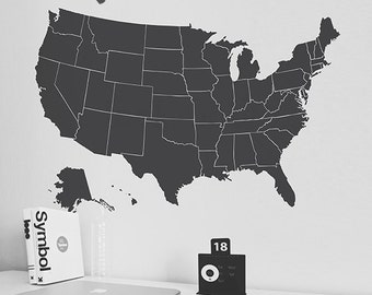 US Map Wall Decal - United States Map Decal - Children Wall Decal - USA Map Decal - LSWD-0150TR
