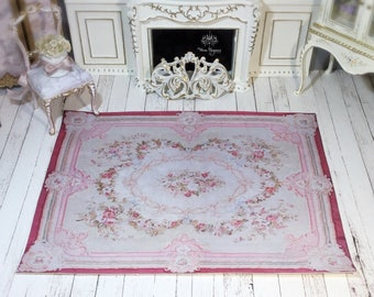 Dollhouse Miniature Rug, 1:12, Reproduction Antique Floor Covering, French Style Antique Rug, Carpet, Aubusson, Decor