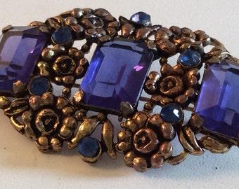 Vintage Victorian Blue Rhinestone and Antiqued Goldtone Floral Brooch