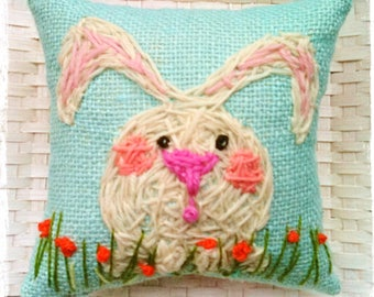 Little White Bunny Mini Hand Embroidered Pillow Made To Order YelliKelli Easter Decor