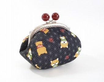 shiba inu dog, metal frame purse, kiss lock purse, pouch