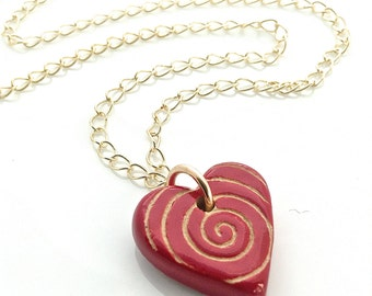 Red Heart Necklace, Ceramic Heart Pendant, Dark Red Jewelry, Gold Chain Pendant, Mothers Day Jewelry, Ceramic Jewelry, Gift for Girlfriend