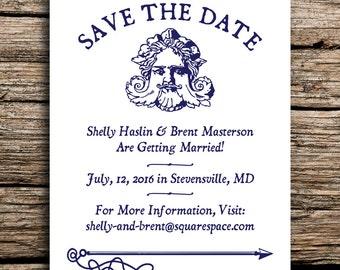Mythical Mariner Save the Date // Antique Nautical Wedding Invites Rustic Navy Blue Beach Wedding Coastal Vintage Seaside Save the Dates