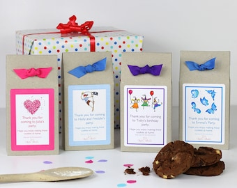 Party Bags - Personalised Chocolate Chip Cookie Mix Party Bags for Girls - Kids Party Bags - Baking Mix - Party Favours - Party Gifts
