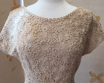 1950s vintage wool cornelly embroidered tulle net lace wiggle dress