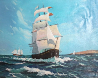 Vintage oil painting seascape ships signed