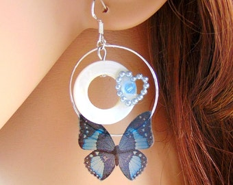 925 Silver Earrings with mother of pearl blue butterfly