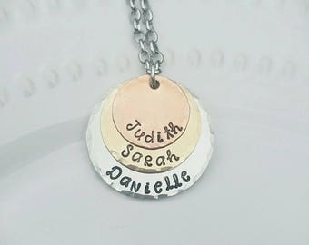 Layered Mixed Metals Necklace - Up to 3 children's names - Stacking Necklace - Mother's Jewelry - Hand Stamped Necklace