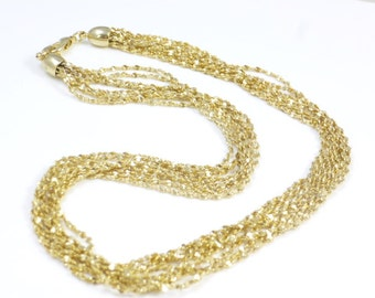 Multistrand Necklace, Gold Chain, Gold Plated Chains, Multi strand Gold Necklace,Multi strand Necklace, Vintage new