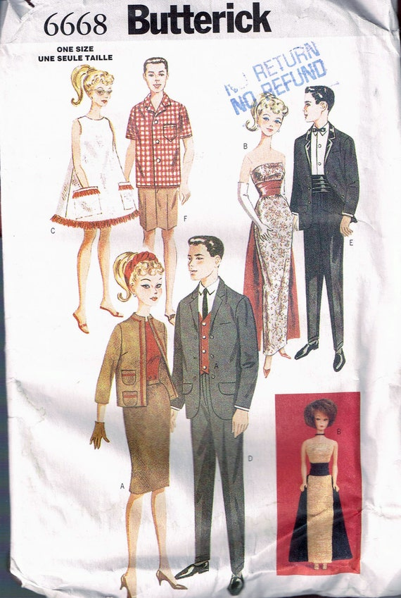 Barbie Doll & Ken Clothes Sewing Pattern - Doll Dress Sewing ...