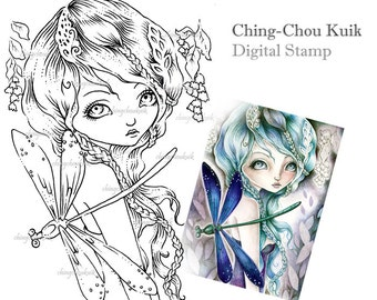 Meet Dragonfly - Digital Stamp Instant Download / Fantasy Art by Ching-Chou Kuik
