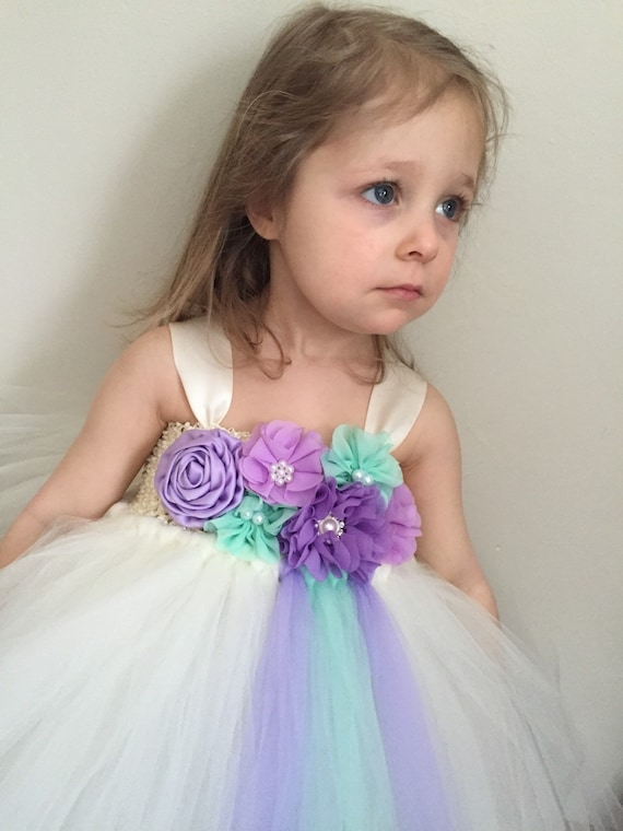 Mint green and lavender purple tulle flower girl dress