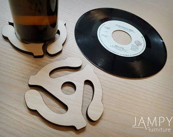 Wooden 45 Record Adapter Coaster