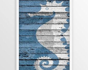 Seahorse Nautical Print, Nautical wall art, Seahorse Printable, Beach decor, Seahorse Wall Art, Nautical Decor, Coastal Print, Blue Wall Art