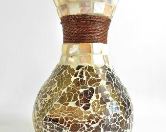 """Stained Glass Mosaic Vase w/Seashell Tiles and Rope – 8"""" High"""