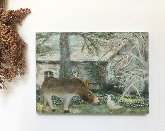 "Acrylic Original Painting  ""A sunny place""  On wooden panel   by Tetsuhiro Wakabayashi"