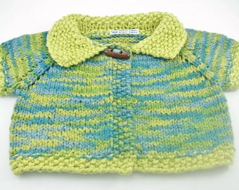 6 - 12 month size organic cotton handknit baby sweater blue and green short sleeves