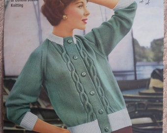 Original Vintage Knitting Pattern 1950s 1960s Women's Cardigan 50s 60s designed by Amanda Laine UK designer - Robin No. 805 DK